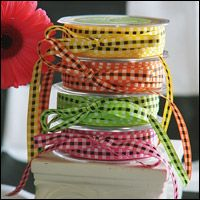 """Woven Check Ribbon 3/8"""" wide x 50 yard roll $33.95 per roll Available from www.FavorsYouKeep.com/ribbon.html"""