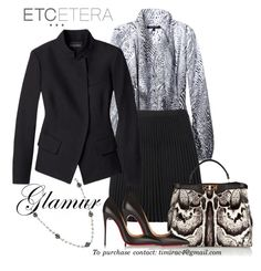 """""""Etcetera Holiday 2015: Vogue Jacket, Aerie Blouse, Wicked Skirt"""" by timirac on Polyvore featuring Aerie, Etcetera, Fendi, Christian Louboutin and Sparkle by Imperial"""