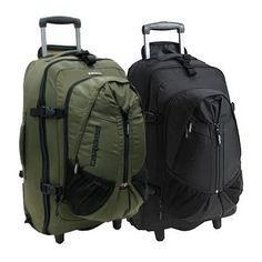 """The latest addition to the Platinum Series range. Super Lightweight travel rucksack with wheels. Straight tube aluminium trolley design maximizes your packing space and reduces weight also includes Caribee oversized free flow wheels. New bio-form concealable harness system with padded hip belt and lumbar support. Massive main compartment opening for easy packing. Unique wheel covers protects your clothing from grime. Zip off detachable day pack is ideal for side trips and for """"carry…"""