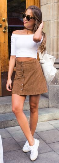 White Off Shoulder Top Camel Button Suede Skirt White Sneakers by Kenzas