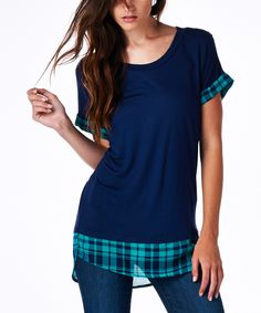 Look what I found on #zulily! tresics Navy Plaid Hem Scoop Neck Tee by tresics #zulilyfinds