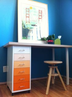 Ikea hack - Cute DIY desk idea for the homeschool room. I'd use different chairs
