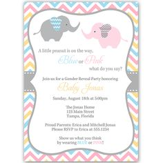Invite guests to your gender reveal party with this blue, pink, yellow, and gray chevron striped invitation featuring a pink elephant and a blue elephant.