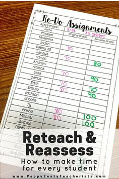 Reteaching & Reassessing: Giving Kids a Second Chance to Learn Are you an elementary education teacher looking for reteaching strategies and reteaching ideas in the [. Teacher Organization, Teacher Tools, Teacher Resources, Teacher Stuff, Teacher Binder, Reading Resources, Teacher Desks, Teacher Planner, Small Group Organization