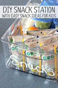 Make a self serve snack station for kids! This snack hack is a mom's best friend - let kids help themselves while you save time by having everything prepped in advance. Includes a list of easy snacks for kids too!