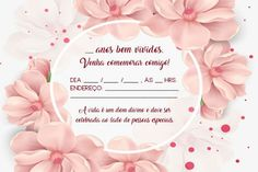 Convites de Aniversário Adulto Online Grátis | Fotos e Modelos Party Decoration, 80th Birthday, Flamingo, Decoupage, Diy And Crafts, Manicure, Lily, Place Card Holders, Invitations