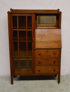 For your consideration here is an Antique Mission Style Side by Side. It has castors, original beveled mirror (some silver loss), the glass had been replaced. Comes with a key, the drawer's locks are intact and the lock on the secretary compartment had been removed. | eBay!