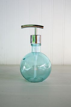 Moon Round Recycled Glass Soap Dispensers - Baby Beach Blue