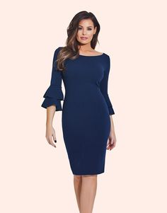 1fe47245d28a5a Jessica Wright Ruffle Sleeve Bodycon Dress