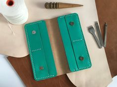 Mint green leather wallet Long leather women wallet credit card holder Mint leather purse clutch Hand stitched leather wallet coin pocket