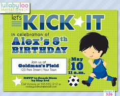 Soccer Birthday Invitations 326  Set of 12 Printed by LullabyLoo, $18.00 #soccer #birthday party #party invitations #invitations #boys Soccer Birthday, Birthday Parties, Boy Birthday Invitations, Party Invitations, Party Planning, Rsvp, Party Party, Boys, Prints