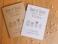 Vintage shabby chic style Order of Service Wedding Invitations Mason Jar SAMPLE