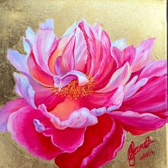 Peony painting by Carla James in acrylic and gold leaf www.etsy.com/shop/siparia