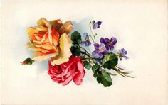 catherine klein, decoupage flower, flower vintage postcard, flower watercolour, rose, roses, vintage, vintage postcard, vintage postcard bouquet, vintage postcard flower bouquet, vintage postcard roses bouquet,