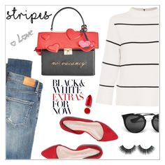 """Stripes!"" by christinacastro830 ❤ liked on Polyvore featuring L.K.Bennett, Citizens of Humanity, Kate Spade, Prada and Rodin"