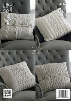 Knitted Aran cushion covers - King Cole                              …