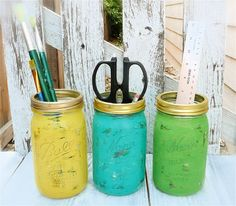 shabby chic office | Shabby Chic INDIAN SUMMER Painted Mason Jars for Office or Home ...