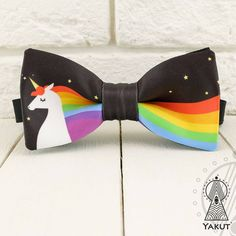 Unicorn Bow Tie, Rainbow bowtie, Multicolored, Men's bow tie, Women's... ($14) ❤ liked on Polyvore featuring men's fashion, men's accessories, men's neckwear, bow ties and mens bow ties