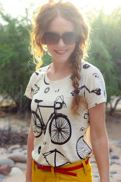Character clothing | Rachel Seton | bicycle shirt! + yellow pants... love the tee. wish i can find sthng like this for my yellow pants