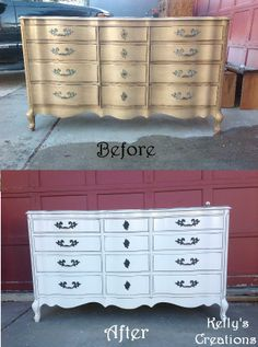 French Provincial dresser painted white with black antiquing before and after pictures. Refinished by Kelly's Creations.  https://www.facebook.com/pages/Kellys-Creations-Refinished-Furniture/524028237619793