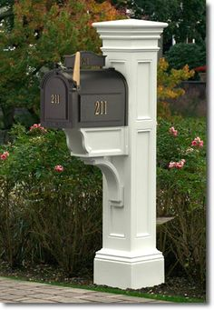 The Liberty Mailbox Post in White from Mayne keeps your mailbox elegantly off the ground. A long lasting mailbox support. Mailbox Posts on Sale Today.