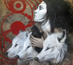 Sophie Wilkins is an Canadian painter, known for working in the Magic Realism style. Art And Illustration, Illustrations, Wolf Spirit, Spirit Animal, Wolf Hybrid, Wolves And Women, Canadian Painters, Photo Portrait, Magic Realism