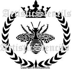 STENCIL French Queen Bee Wreath Crown 10x10 by ArtisticStencils, $16.00