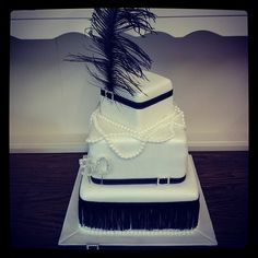 "1920s style ""flapper"" dress inspired 50th birthday cake"