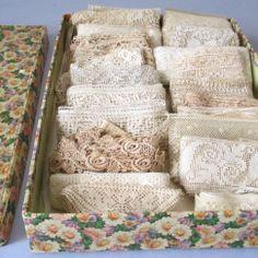 Box of Antique LACE Trims  ALENCON Filet Irish Crochet