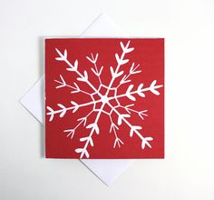 Christmas Cards. Linocut Christmas Cards. Red Snowflake Cards. Snowflake Xmas…