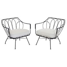 """Maurizio Tempestini lounge chairs, pair, by Salterini, 1950s, wrought iron frames with decorative backrests, seat and backrest cushions reupholstered in off-white vinyl (backrest cushions not shown), original finish, unsigned, 29""""w x 26.6""""d x 29""""h"""