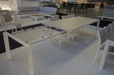 Gescova Azur Bettini Gartentisch Rechtwinklig-rechteckig Verlaengerbar Aluminium Weiss Keramische Tischplatte Weiss gemischt 180-240