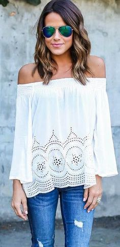 Off The Shoulder Chiffon Hollow Top