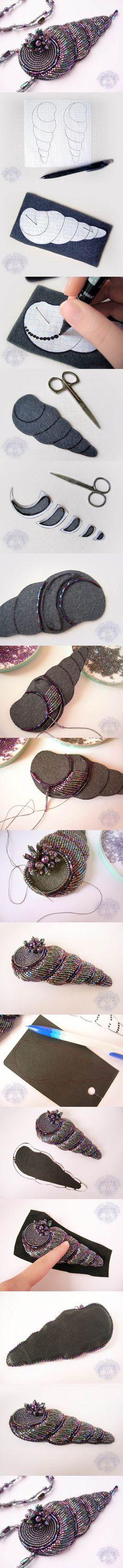 DIY Beaded Spiral Shell Pendant | iCreativeIdeas.com