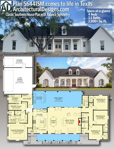 House Plan 56441SM gives you 2,500+ square feet of living space with 4 bedrooms and 3.5 baths. AD House Plan #56441SM #adhouseplans #architecturaldesigns #houseplans #homeplans #floorplans #homeplan #floorplan #floorplans #houseplan 4 Bedroom House Plans, New House Plans, Dream House Plans, House Floor Plans, My Dream Home, Dream Houses, Square House Plans, Southern House Plans, Southern Homes