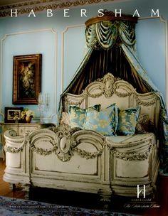 "Habersham ""Florentina"" bed with garland. Room designed by Haled Niroo, Haleh Design."