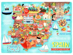 Stunning illustrated map of Spain by Liv Wan Illustration Map Of Spain, Spain And Portugal, Country Maps, Map Design, Travel Maps, Freelance Illustrator, Vintage Travel Posters, Spain Travel, Map Art