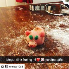 En gris til deg. ##reiseblogger #reiseliv #reisetips #reiseråd  #Repost @chrissy1983 (@get_repost)  Little miss piggy Julie laget en stilig marsipangris