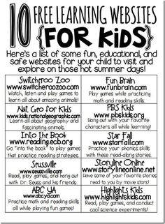 10 free learning websites for kids educational websites for kids, learning sites, fun learning Learning Websites For Kids, Fun Learning, Learning Activities, Teaching Resources, Learning Sites, Classroom Websites, Summer Activities, Learning Tools, Children Websites