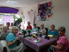 The Knitting for Charity ladies are busy knitting a 'Picnic Window' which will be displayed in our main window as soon as all the lovely items have been finished. So far we have Cups and Saucers, Trees with a teddy in a hammock, Grass, Sandwiches, Cakes, Lemonade, Mushrooms, Fruit, Daises, Bumble Bees, Ladybird, Hedgehog, Bunting, Teddies and Scarecrow Family. Keep a look out all the items will be for sale afterward and all funds will be donated to St.Wilfrids Hospice.