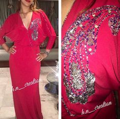 Gandoura en jersey pailletée à la main by H&N ✨#HetN #creation #couture #djellaba #gandoura #caftan #tenue #robe #broderie #perlage #handmade #quality #morocco #ramadan