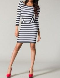 Striped seamless dress...the direction of the stripes is genius, accentuating your figure...love