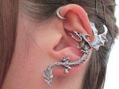 Gothic glitter silver dragon ear cuff by StylesBiju on Etsy, $12.90