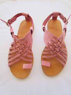 Rose Gold Sandals, Bridal Sandals, Pink Sandals, Leather Sandals Flat, Leather Slippers, Ancient Greek Sandals, Natural Leather, Leather Craft, Women Sandals