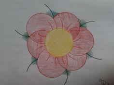 Simpele bloem met pennen en kleurpotloden!
