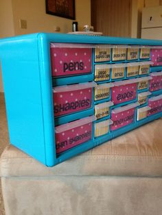 Wow! This is actually a $16 toolbox converted to an organizer. So cute!
