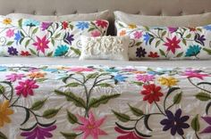 Marvelous Crewel Embroidery Long Short Soft Shading In Colors Ideas. Enchanting Crewel Embroidery Long Short Soft Shading In Colors Ideas. Embroidery Designs, Hand Embroidery Patterns, Mexican Embroidery, Hungarian Embroidery, Chain Stitch Embroidery, Crewel Embroidery, Decoration Bedroom, Bed Spreads, Boho Decor