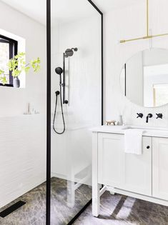 guest bathroom NOTE THE ZERO degree floor.walk in shower. Mountain House Reveal: The Closet-Turned-Modern-Guest Bathroom Bad Inspiration, Bathroom Inspiration, Bathroom Ideas, Bathroom Goals, Shower Ideas, Hall Bathroom, Master Bathroom, Bathroom Interior, Bathroom Plumbing
