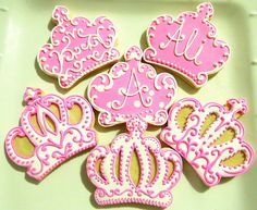 Items similar to 12 Princess Crown Sugar Cookies on Etsy Cookies For Kids, Fancy Cookies, Iced Cookies, Cute Cookies, Royal Icing Cookies, Cookies Et Biscuits, Cupcake Cookies, Sugar Cookies, Cupcakes