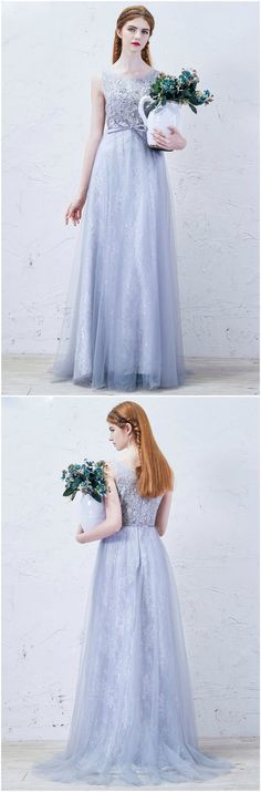 Grey Romantic A-Line Scoop Neck Floor-Length Lace Tulle Wedding Dress With Bow